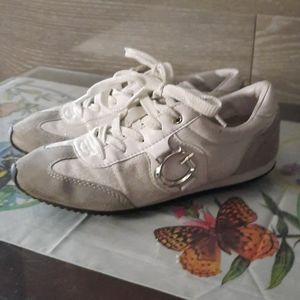 Guess silver metallic suede sneakers